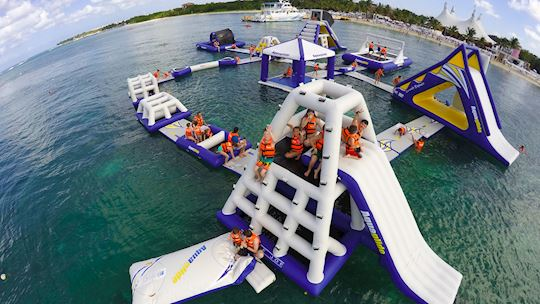 Floating experience at Playa Mia Grand Beach Park, Cozumel