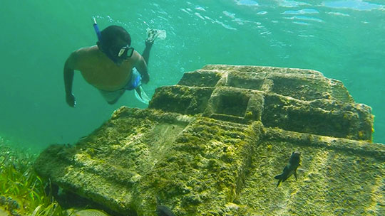 Underwater Mayan City at Cozumel