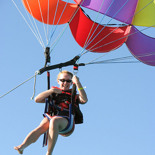 Parasailing at Playa Mia Grand Beach Park, Cozumel